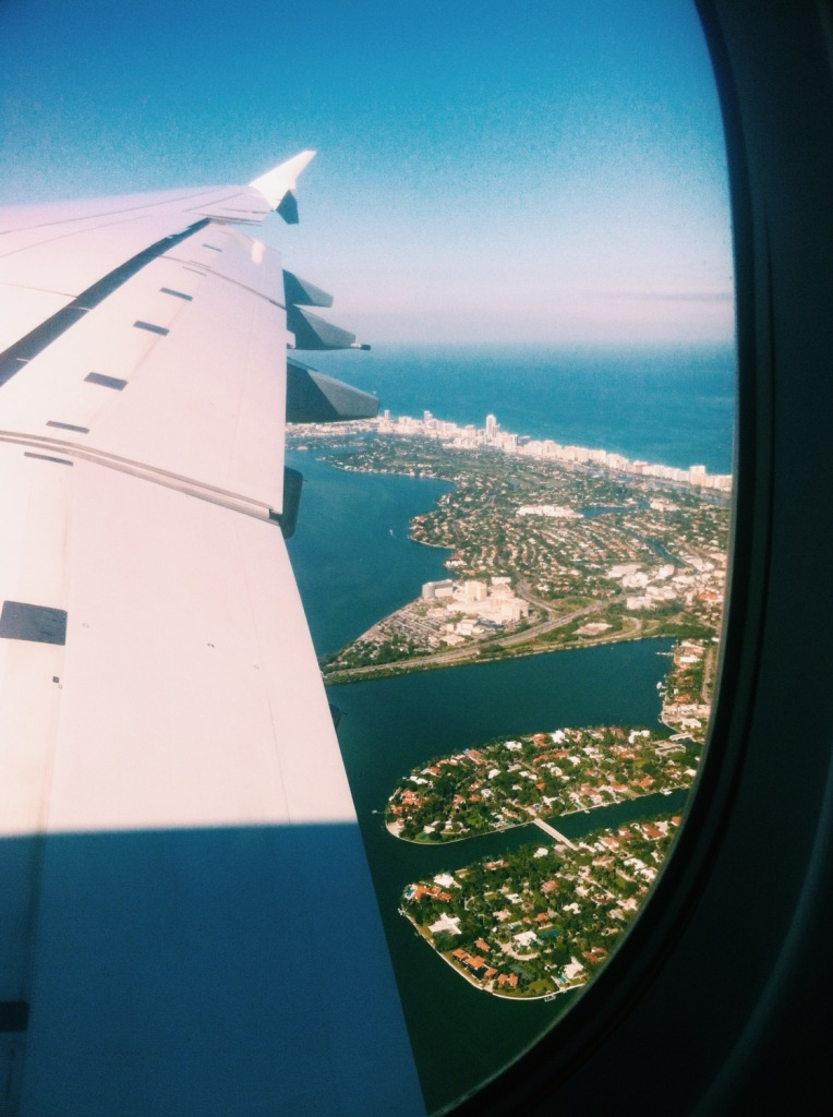 Perfect view from A380 landing over South Beach, Miami