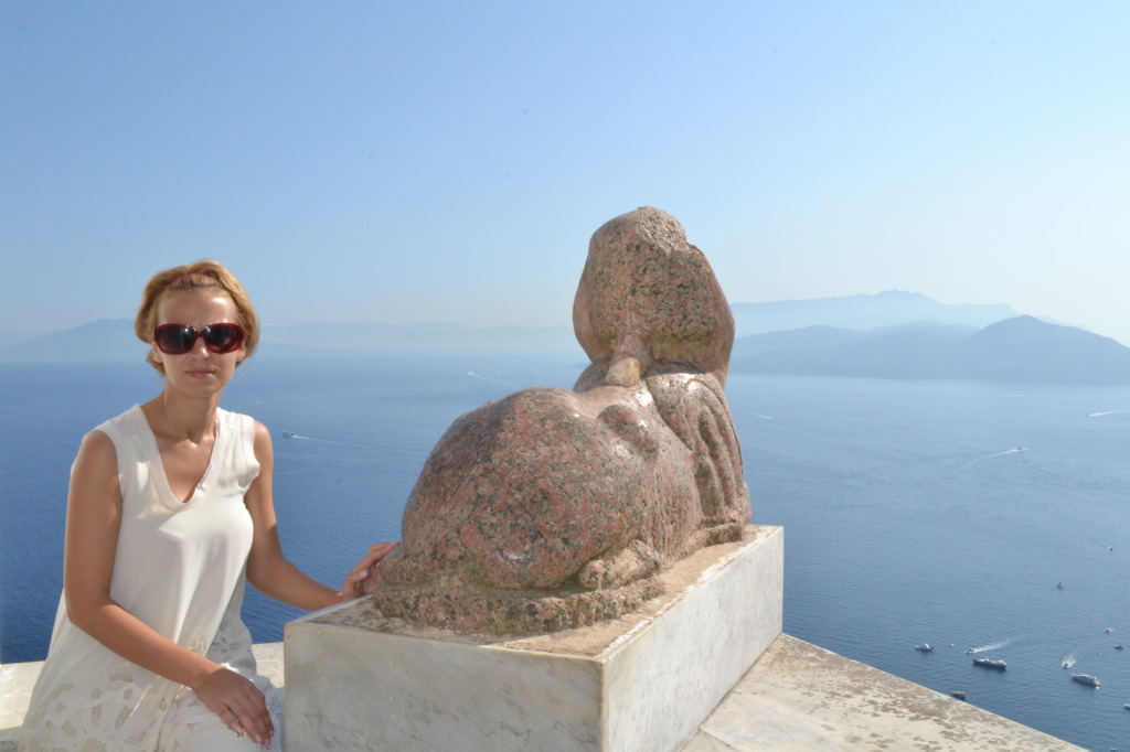 Villa San Michelle, Capri. Watching the sunset with the famous Sfinx.