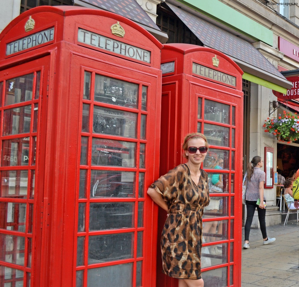 Iconic London telephone box matches my animal print look
