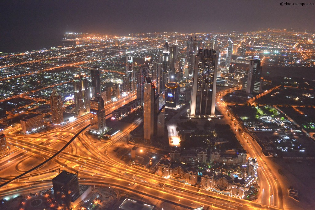 Amazing view over Dubai by night from Burj Khalifa