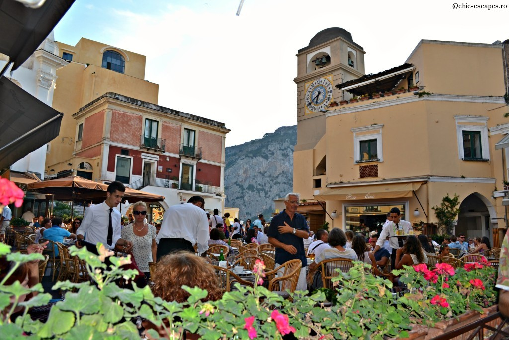 The Clock Tower Piazzeta, most crowded place in Capri